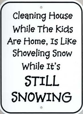cleaning house in the snow